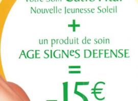 15 € de réduction sur un soin Catiovital et 1 produit Age Signe Defense