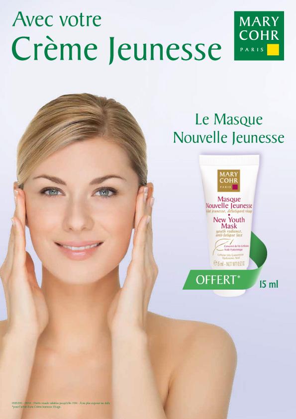 Masque Nouvelle Jeunesse offert pour l'achat d'une Creme Jeunesse Mary Cohr